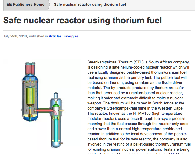 Energize: Safe nuclear reactor using thorium fuel